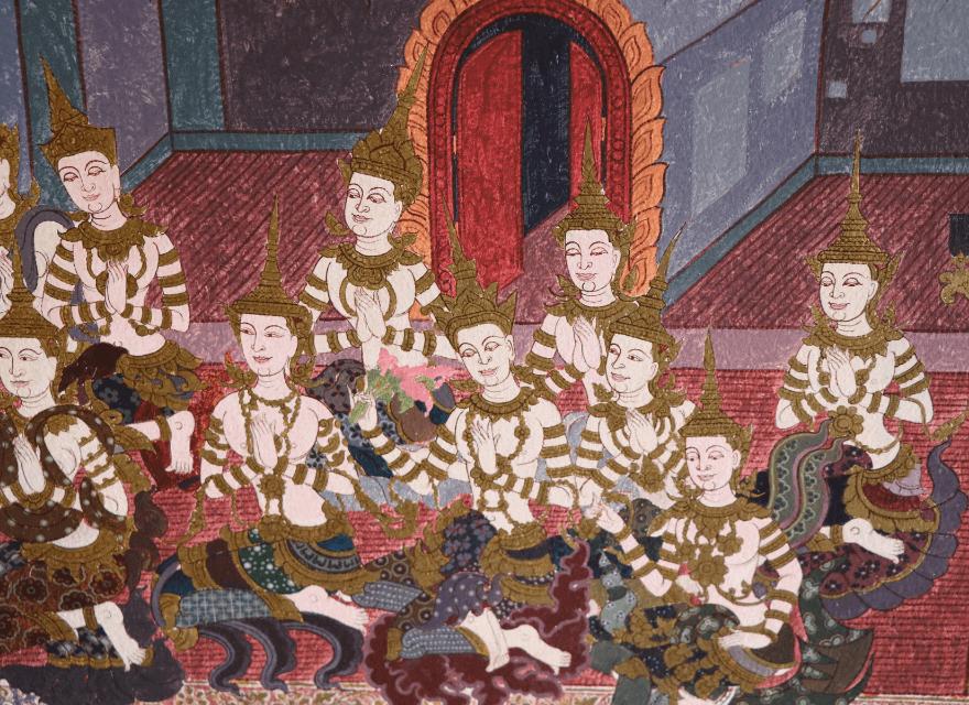 Buddha Sprüche Kraft Gemaltes Wandbild beteneter Buddhisten -123 Sprüche von Buddha