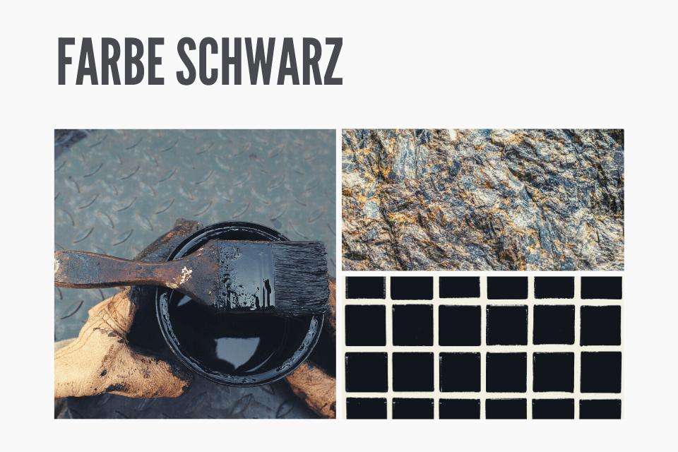 Schwarzer Farbkessel mit Pinsel. Schwarze Strukturen - Das Geheimnis der Farbe Schwarz