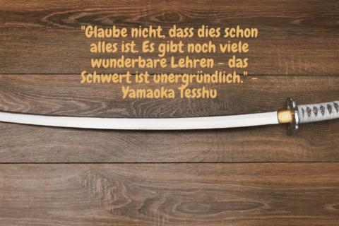 """Ein japanisches Schwert mit der Aufschrift: """"Glaube nicht, dass dies schon alles ist. Es gibt noch viele wunderbare Lehren - das Schwert ist unergründlich."""" - Yamaoka Tesshu - Das Geheimnis der Gewinner Das Leben meistern"""