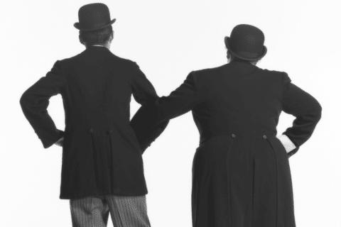 Schwarzweiss Dick und Doof von hinten - Der grosse Knall Dick und Doof Laurel und Hardy