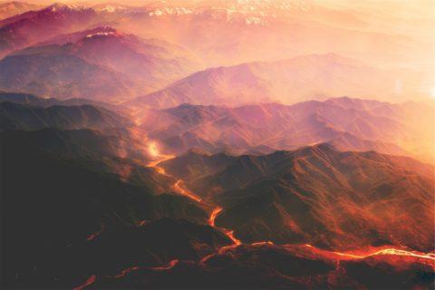 Ein Vulkan durch die Augen eines Sateliten