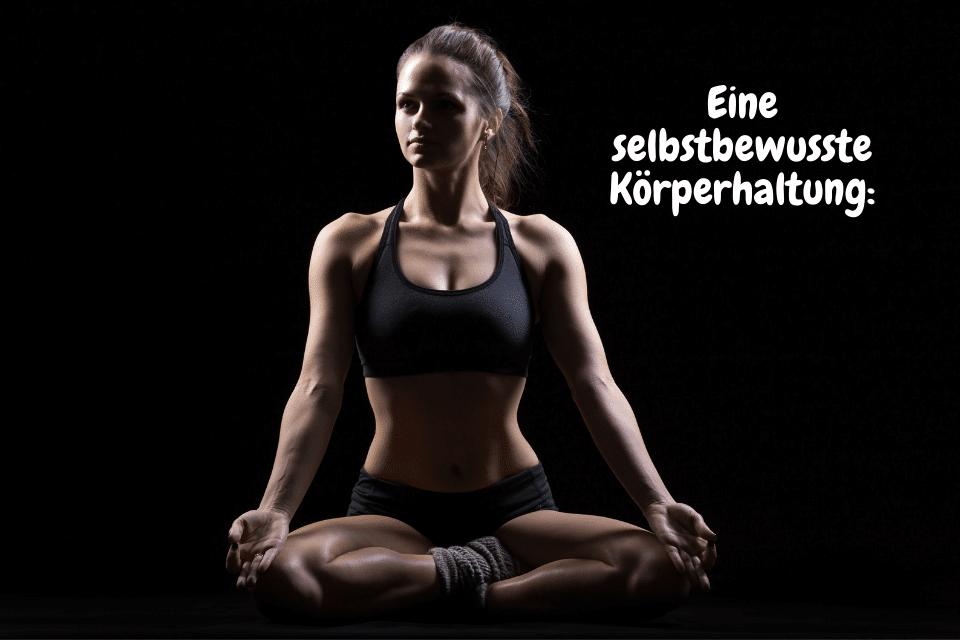 Frau sitzt im Schneidersitz in einer Eine selbstbewusste Körperhaltung
