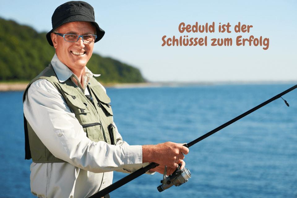 Ein Mann beim Fischen: Geduld ist der Schlüssel zum Erfolg