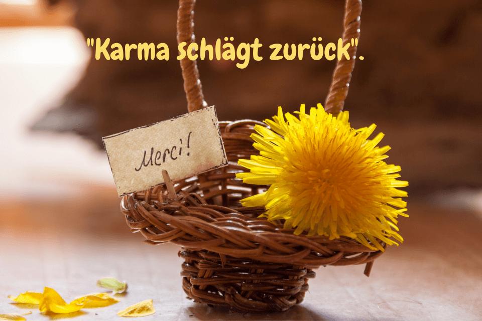 """Ein kleineses Körbchen mit einer gelben Blume mit der Aufschrift """"Danke"""" - """"Karma schlägt zurück""""."""