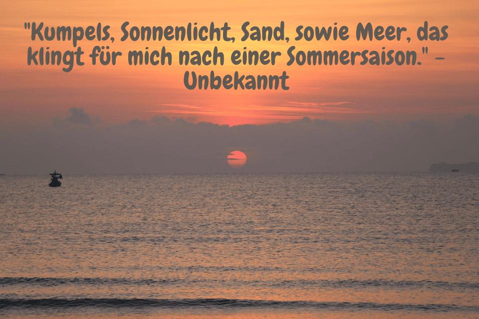Fischerboot am Horizont beim Sonnenaufgang - Kumpels, Sonnenlicht, Sand, sowie Meer, das klingt für mich nach einer Sommersaison. - Unbekannt