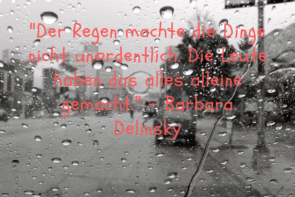 Verregnete Scheibe mit Blick nach aussen. Es steht ein Spruch darauf Der Regen machte die Dinge nicht unordentlich. Die Leute haben das alles alleine gemacht. - Barbara Delinsky