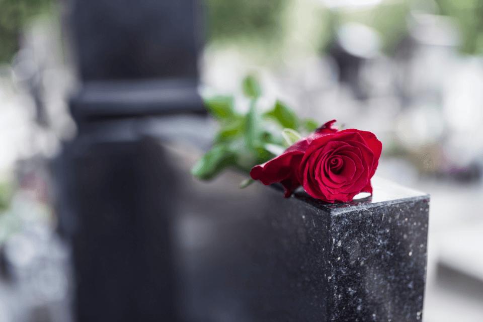 Rote Rose liegt auf einem Grabstein - Wann können sterbende loslassen | Endphase des Lebens