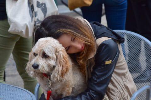 Eine Frau umarm ihren Hund - Warum die Berührung so effektiv ist