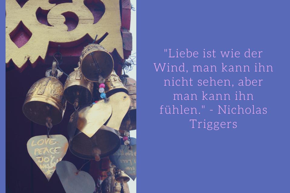 """Weisheiten Liebe """"Liebe ist wie der Wind, man kann ihn nicht sehen, aber man kann ihn fühlen."""" - Nicholas Triggers"""