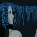 Roboter malt ein Bild - künstliche Intelligenz