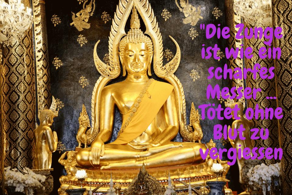 """Sitzender Buddha aus Gold - Zitate über die Realität Was lehrt uns Buddha - """"Die Zunge ist wie ein scharfes Messer ... Tötet ohne Blut zu vergiessen"""